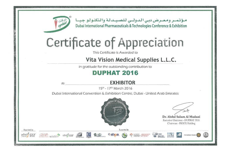 About vitavision duphat 2016 appreciation certificate yadclub Image collections